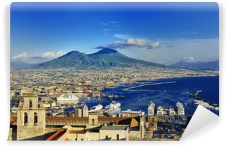 Carta da Parati Lavabile Napoli e il Vesuvio vista panoramica, Napoli, Italia