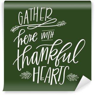 Carta da Parati Lavabile Raccogliere Qui con Thankful Cuori