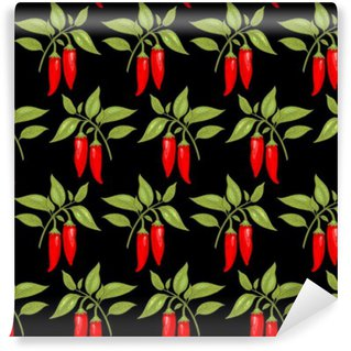 Carta da Parati Lavabile Seamless pattern con pepe di cayenna