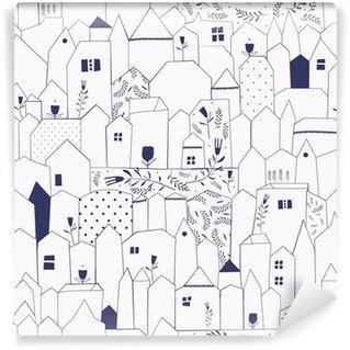 Carta da Parati Lavabile Seamless pattern. Figura città in stile vintage.