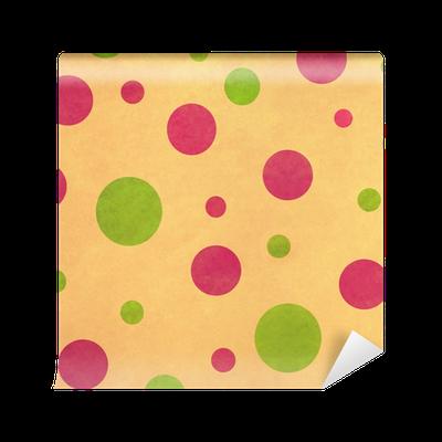 Carta da Parati Lavabile Sfondo retrò con Pink Dots e Verde