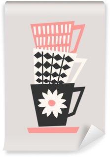Carta da Parati Lavabile Tazze di caffè Retro