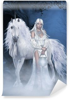 Carta da Parati Lavabile Unicorn e bella fata