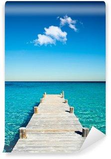 Carta da Parati in Vinile Legno pontone spiaggia vacanze