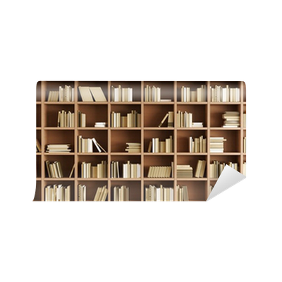 Carta da parati libreria pixers viviamo per il for Carta da parati libreria