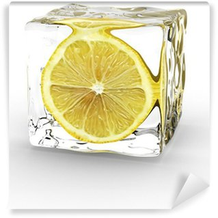 Carta da Parati in Vinile Limone in cubo di ghiaccio