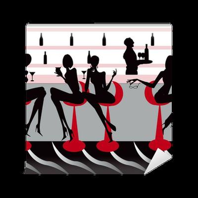 Carta da parati locale bar ristorante caff donne for Carta da parati bar