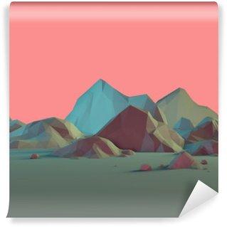 Carta da Parati in Vinile Low Poly-Paesaggio 3D montagna con pastelli