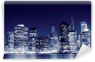 Carta da Parati in Vinile Lower Manhattan skyline di notte, New York City