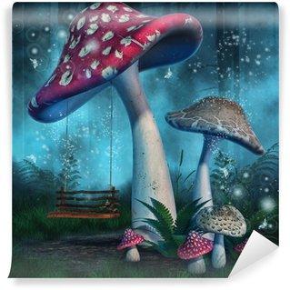 Carta da Parati in Vinile Magiczny las z wysokimi grzybami i huśtawka