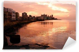 Carta da Parati in Vinile Malecon al tramonto. L'Avana (Cuba)