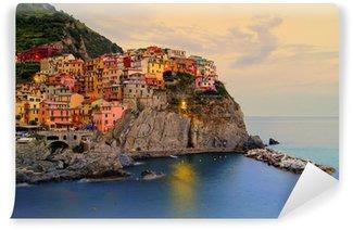 Carta da Parati in Vinile Manarola, Italia sulla costa delle Cinque Terre, al tramonto