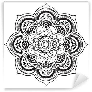 Carta da Parati in Vinile Mandala. Ornamento rotondo