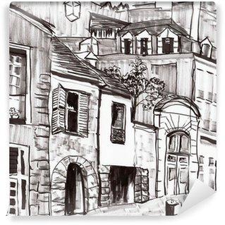 Carta da Parati in Vinile Mano a costruire draw Parigi