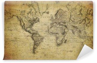 Carta da Parati in Vinile Mappa d'epoca del mondo 1814 ..