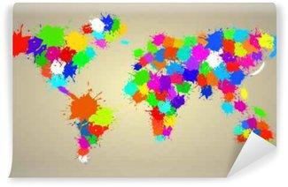 Carta da Parati in Vinile Mappa del mondo astratto della pittura ad acquerello colorato