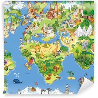 Carta da Parati in Vinile Mappa del mondo grande e divertente