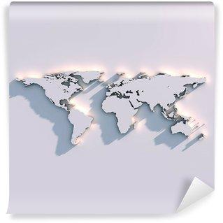 Carta da Parati in Vinile Mappa del mondo in rilievo parietale