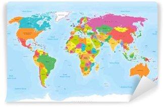Carta da Parati in Vinile Mappa del mondo vettore. etichette English / USA