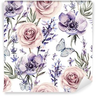 Carta da Parati in Vinile Modello Acquerello con i colori della lavanda, rose e anemoni.