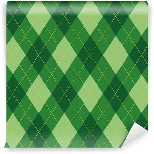 Carta da Parati in Vinile Modello Argyle rombi verde seamless texture, illustrazione
