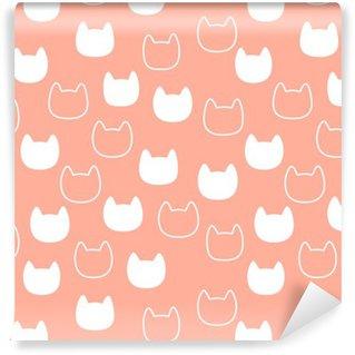 Carta da Parati in Vinile Modello con silhouette testa di gatto su sfondo rosa