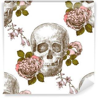Carta da Parati in Vinile Modello del cranio pattern con fiori