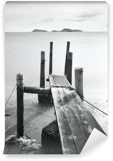 Carta da Parati in Vinile Molo andare in mare, bianco e nero