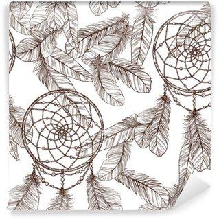 Carta da Parati in Vinile Monocromatico Seamless Pattern Con Dreamcatcher E Piume