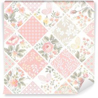 Carta da Parati in Vinile Motivo patchwork senza soluzione di continuità con rose e farfalle in colori pastello
