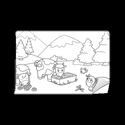 Carta da parati mucche in montagna illustrazioni da for Carta da parati per casa in montagna