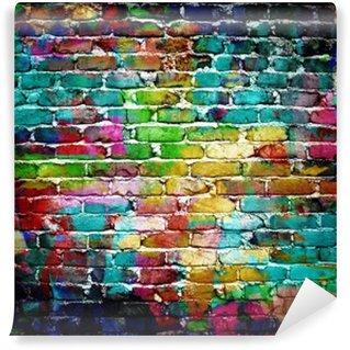 Carta da Parati in Vinile Muro di mattoni dei graffiti