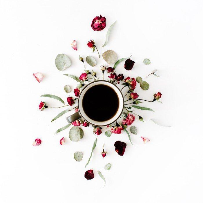 Carta da parati in vinile nero tazza di caff e rosa rossa for Carta da parati damascata rossa