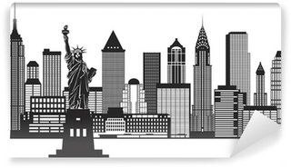 Carta da Parati in Vinile New York City Skyline in bianco e nero illustrazione vettoriale