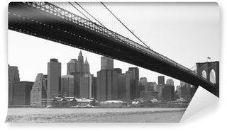 Carta da Parati in Vinile New York Ponte di Brooklyn in bianco e nero