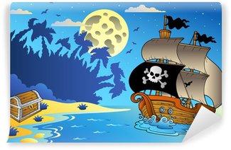 Carta da Parati in Vinile Notte paesaggio marino con nave pirata 1