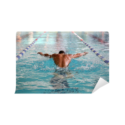 Carta da parati nuotatore in piscina pixers viviamo for Adesivi per piscine