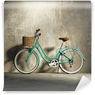 Carta da Parati in Vinile Old vintage bicicletta romantico verde, elegante cesto grungy muro