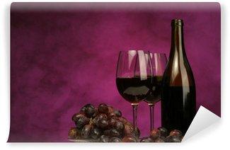 Carta da Parati in Vinile Orizzontale della bottiglia di vino con gli occhiali e l'uva