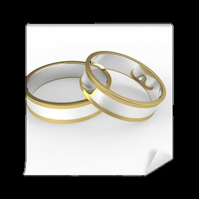 Carta da parati oro e argento anelli di nozze isolato su for Carta da parati oro e argento