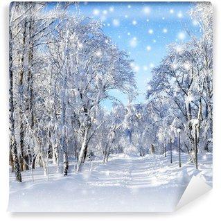 Carta da Parati in Vinile Paesaggio di inverno, tempesta di neve