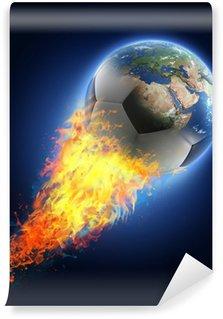 Carta da Parati in Vinile Pallone da calcio trasformando in terra su sfondo nero