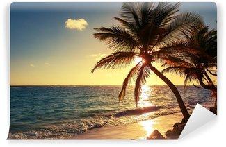 Carta da Parati in Vinile Palma sulla spiaggia tropicale