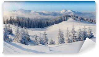 Carta da Parati in Vinile Panorama delle montagne di inverno
