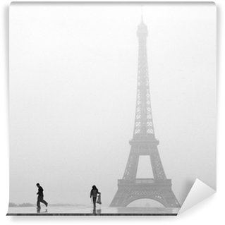 Carta da Parati in Vinile Parigi Torre Eiffel in mezzo alla neve