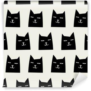 Carta da Parati in Vinile Pattern di gatto senza soluzione di continuità