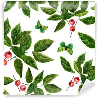 Carta da Parati in Vinile Pattern di sfondo trasparente con foglie acquerello, bacche e farfalle