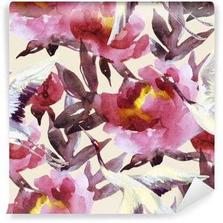 Carta da Parati in Vinile Peonie acquerello e uccelli gru dipinto a mano