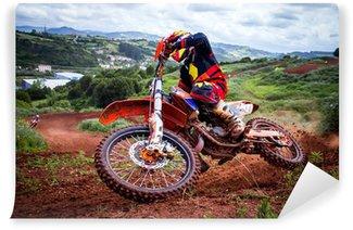 Carta da Parati in Vinile Pilota di motocross