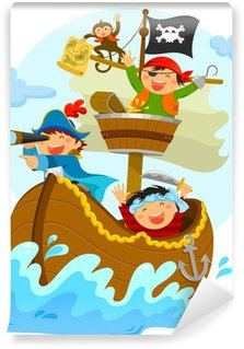 Carta da Parati in Vinile Pirati felici che navigano in loro nave